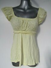 BAY Y2K Milkmaid Belted Crochet Off the Shoulder Lemon Yellow 00s Top Size 10