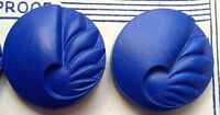12 English VINTAGE 1940s Bright Blue 2.2cm Catalin VERY Deco Buttons