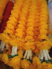 THAI 6 ft LONG TRADITIONAL MARIGOLD PLASTIC GARLAND FLOWERS SPIRIT HOUSE WORSHIP