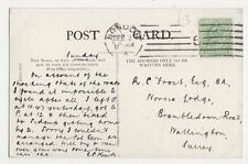 R.C. Frost Esq. Norvic Lodge, Brambledown Road, Wallington 1904 Postcard, B332