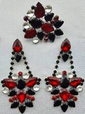 drag queen jewerly new jet red crystal show pageant dragqueen Ring earrings clip