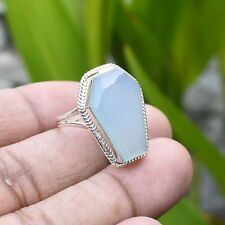 Solid 925 Sterling Silver Aqua Chalcedony Coffin Shape Ring Various Sizes TR-316