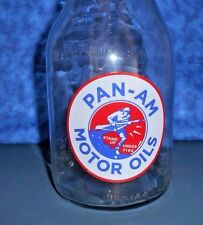 """PAN - AM MOTOR OILS"" 1 QUART GLASS OIL BOTTLE ""Stand Up Under Fire"" w SOLDIER"