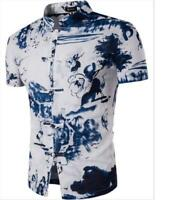 Men Slim Stand Collar Floral T-Shirts Short Sleeve Casual Shirts Chinese Knot