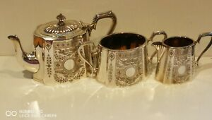 Clean Superb Antique Vintage Art Deco Silver Plated 3PC Tea Set Walker Hall