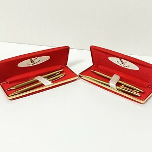 Lot of 2 Vintage Centennial Ball Point Pen and Mechanical Pencil Set Gold Tone