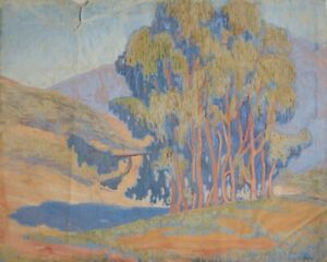 Elsie Palmer Payne American 1884 - 1971 Gouache painting California Landscape