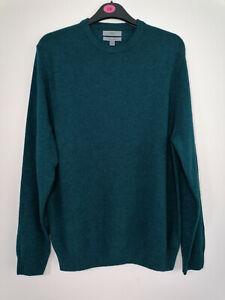 NEW M&S Pure Extra Fine Lambswool V-Neck Emerald Men's Jumper 2XL