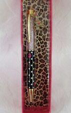 Betsey Johnson Polka Dot Kisses Ballpoint Pen White Crystals New in Box!