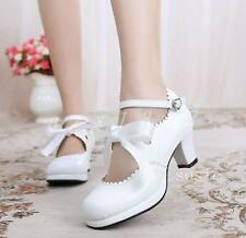 Ladies Womens Lolita Sweet Shoes Bowknot Chunky Heel Cos Princess Buckle Silk