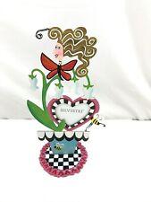 """Silvestri Rossi Picture Frame Metal Fanciful Flight Flower Pot Garden 12"""" Vtg"""