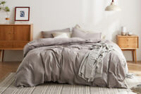 DAPU Ultra Soft 55% French Linen 45% Long-Staple Cotton Grey Duvet Cover Set