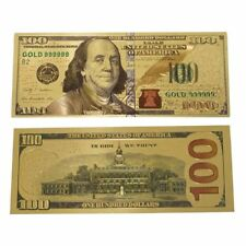 New Gold Foil USA Banknote Plastic USD 100 Dollar Bills Note Paper Money Crafts