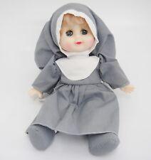 "Nun Doll in Gray Habit Cloth Body Soft Plastic Head & Hands Blue Sleep Eyes 10"""