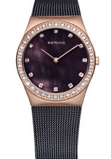 Bering Womens 12430-262 Classic Brown Dial Brown Stainless Steel Mesh Band Watch