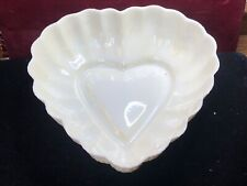 Vintage Belleek Ireland Fine Bone China Scalloped Heart Shaped Dish