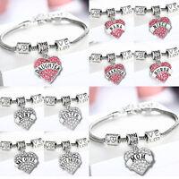 Family bracelet love heart crystal charm pendant beads silver-tone bangle