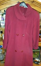 Size 10 vintage red wool & cashmere warm coat long formal vgc 90s power woman