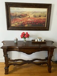 Large Wood Sofa Console Table Vintage Hall Display Top Walnut Entry Pick Up