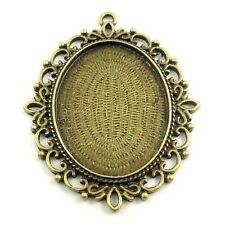 6PCS Vintage Bronze Oval Cameo Setting Cabochon Tray Inner Size 40*30mm