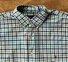 Ralph Lauren Casual Button Down Shirt Men 3XLT Blue Green White Plaid wPony NWT