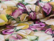 0,5m Kleiderstoff Leinen Stoff Digitaldruck Wicke Blumen Feld Bund, sanforisiert