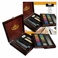 56pc Artist Deluxe Soft Pastel Charcoal & Pencil Wooden Box Sketching Set PAS160