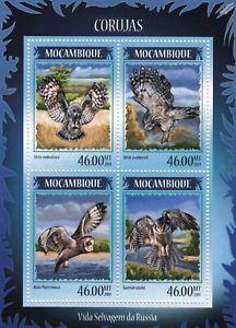 OWLS (Russia Corujas) Birds of Prey Mint MNH Stamp Sheet M/S (2014 Mozambique)