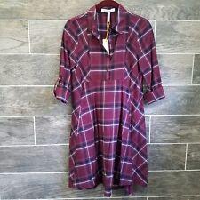 BCBG womens shirt dress plaid burgundy navy white long sleeves sz XXS