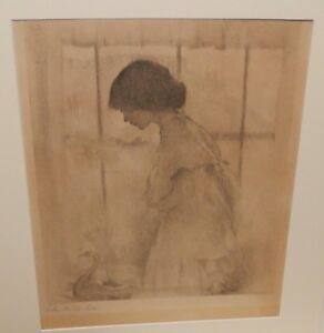 LILIAN WESTCOTT HALE WOMAN AND DOVE HAND SIGNED IN PENCIL PRINT