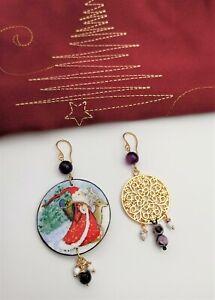 Christmas Painted Art Wood Earrings. Holiday Jewelry Gift. Santa clause earrings