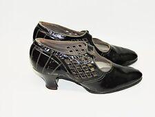 Vintage 1930s W.M.H. Walker Co Black Patent Leather Heels Diamond Shoes Pumps 6