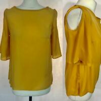 Marina Kaneva Ladies Mustard Cold Shoulder Chiffon Top Size 10- 22