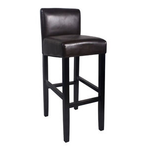 """NEW!  WOOD/LEATHER BARSTOOL - 32"""" BAR/COUNTER STOOL -BROOKLYN-SET OF 2 - BROWN"""
