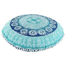 Ethnic Elephant Mandala Floor Pillow Cases Round Poufs Cushion Cover With Insert