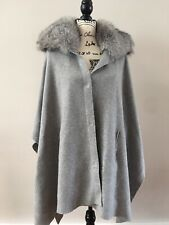 New Sofia Cashmere Fox Fur Collar Snap Front Cape Gray One Size