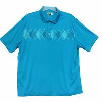 Ben Hogan Polo Golf Shirt Mens Size 2XL XXL Blue Green Short Sleeve Dry Fit