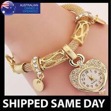 WOMENS CRYSTAL STUDDED BANGLE BRACELET WATCH Gold Silver Bling Fashion Dress 14