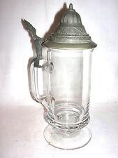 Glas Bierkrug mit Zinndeckel Deckelhumpen Kristallglas nundgeblasen
