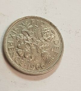 1966 SIXPENCE COIN CIRCULATED