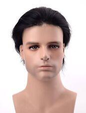#1 Jet Black Men's Wig 8x10'' Thin Skin Toupee Base Human Hair Replacement