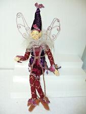 "Vintage 18"" T Posable Elf Fairy Hard Hands Face Purple & Burgundy"