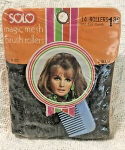 Vintage Solo Magic Mesh Brush Rollers 14 In Pack With Blue Comb New Sealed 1975