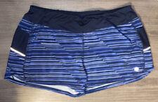 Athleta Blue Stripe Brief Lined Running Shorts Size Women's XL