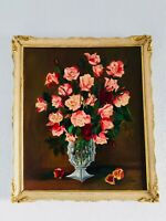 "26"" A. F. DIAZ 1964, Antique Oil Painting Floral Flowers Red Roses Gilt Wood"
