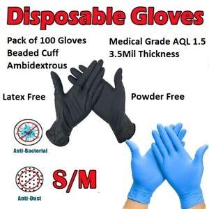 Bag of 100 Powder Free Disposable Nitrile Gloves Blue / Black Size Small Medium