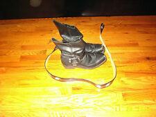 Vintage Men's Black Leather Biker Motorcycle BOOTS Vulcan soles 12D Eagle belt