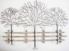 Metal Wall Art Decor Picture - TREES AND FENCE (75cm) *New* Boxed