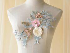 3D Silk Flowers Costume Lace Applique Sequin Embroidery Evening Dress Motif 1 PC