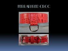 "Leather Dog Collar Red Croco Embossed rhinestone buckle 1.25"" H x 12-16"" L"